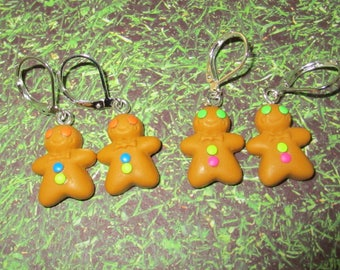 Jewelry pierced earrings polymer paste pti gingerbread man cookie treats
