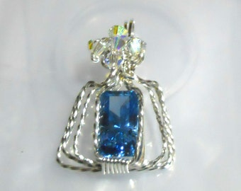 Faceted 8.8Carat Blue Spinel with Twisted Sterling Silver Wire and AB Swavorski Crystals