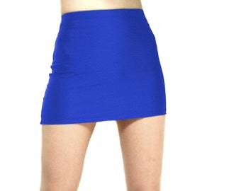 High waisted Royal Blue spandex mini skirt