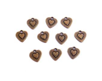 LOT 10 charm heart bronze 10mm