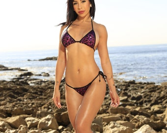 Magenta Pink and Black Leopard Print Medium Coverage Top Large Coverage Front Some Coverage Thong Micro String Bikini Set One Size