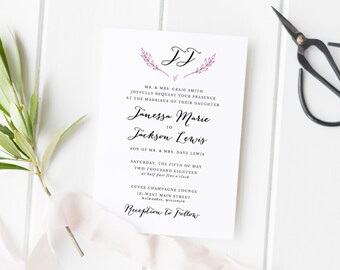 Rustic Wedding Invitation Template, Printable Wedding Invitation Suite, Monogram Wedding Invitation Set, DIY Wedding Invitations
