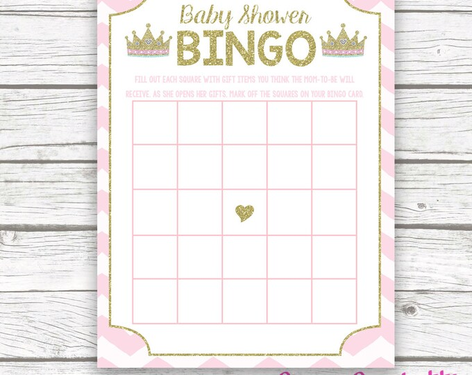 Pink and Gold Princess Baby Shower Bingo Game Printable, Tiara Crown Gold Glitter Princess, Printable Baby Shower Games, Baby Girl Shower