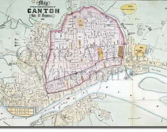 Reproduction of a Vintage Map of Canton (Guangzhou), China from 1860 - Fantastic Photo Poster Print - Old Archive Cartography