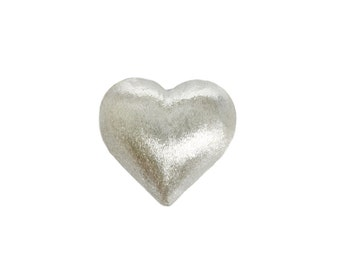 Sterling Silver Heart Beads - Jewelry Findings - Metal Beads - Charm Silver Beads - 14mm - Jewelry Supplies - Jewelry Making - 1 Pc