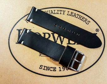 Leather Watch Band, Black color Horween leather watch strap, Handmade in Finland - 16, 17, 18, 19, 20, 21, 22, 23, 24, 25, 26 mm.