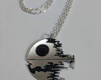 Shiny DeathStar Star Wars Jewelry Bling, GeekStar Silver Hypoallergenic Acrylic Lasercut