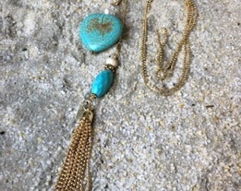 Turquoise, Freshwater Pearl and Gold Wire Wrapped Slide Y Necklace with Tassle