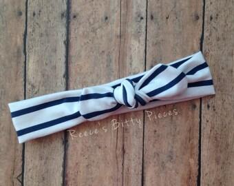 Top Knot Headband || Navy White Stripe on Cotton Jersey Knit Fabric || Knotted Headband
