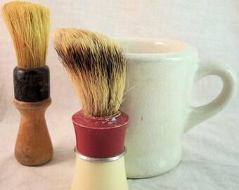 Two Vintage Ever Ready Shaving Brushes with Antique Stoneware Shaving Mug