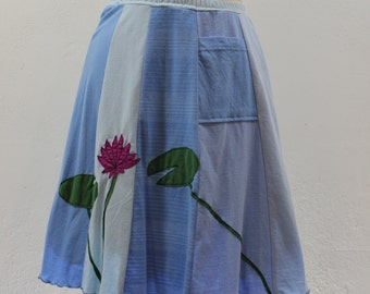 T-Skirt | upcycled, recycled blue t-shirt skirt with lilypads and flower appliqué + pocket