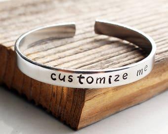 Custom cuff bracelet Hand stamped aluminum bracelet Custom bracelet Personalized bracelet Personalized stamped cuff