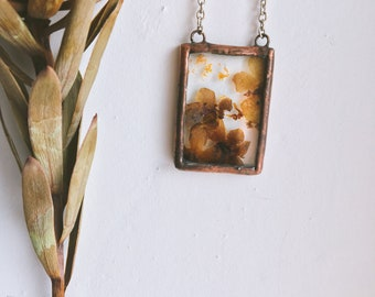 Glass pendant stained-glass real dried flowers natural style