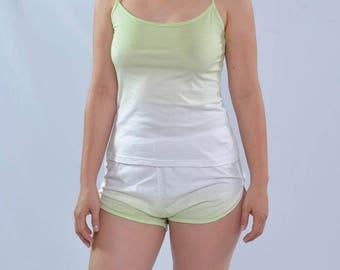 Women's Cotton green mangostino pyjama, organic cotton, Handmade,natural colors, lingerie, cotton pajama, sleepwear,pyjama set,gif idea