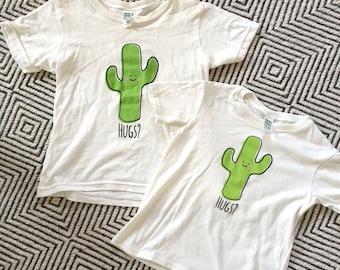 Natural Saguaro Cactus Hug Kid T-Shirt YOUTH SIZES - Organic Triblend