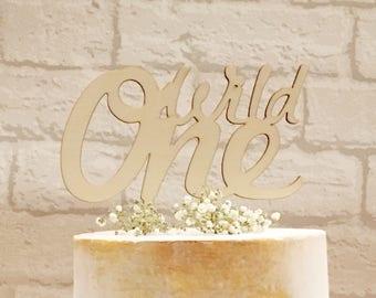 Wild One Cake Topper, First Birthday, Child birthday, Cake Topper, Baby Birthday, Cake Decoration, Rustic, Wooden