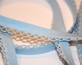 POLYCOTTON bias 12 MM blue lace lined