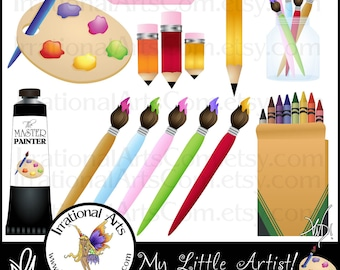 My Little Artist - digital clipart graphics of art supplies like paint palette, crayons, pencils, paintbrush {Instant Download}