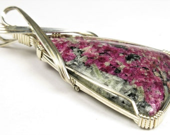 Exquisite Beauty ~ Sparkling Russian Eudialyte Wire Wrapped Pendant - 59mm x 33mm x 7mm - B9560
