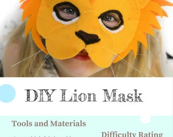 Lion Mask PATTERN.  Kids Animal Mask Sewing Pattern. DIY Party Mask.