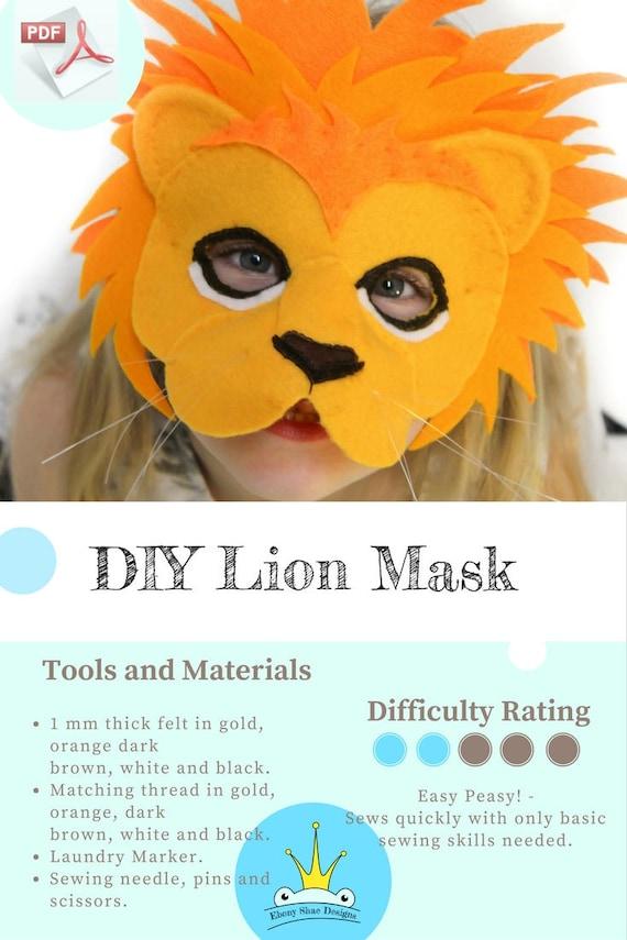 Lion Mask Pattern Kids Animal Mask Sewing Pattern Diy