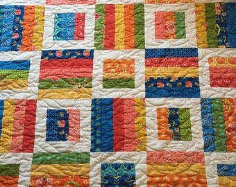 Red, Pink, Orange, Yellow, Blue, Green Vibrant Color Lap or Baby Quilt
