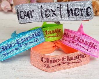 CUSTOM hair ties -  Hair ties favors - Glitter hair tie  - Personalized party favors- Personalized wristband - Party Favors -