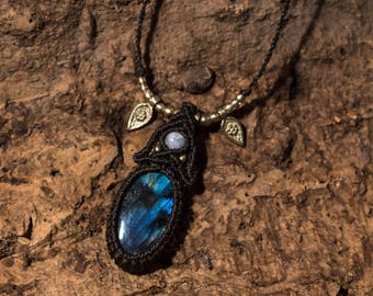 Blue flash Labradorite simple pendant with brass charms and Moonstone bead