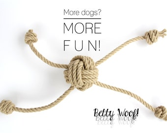 LARGE Dog Toy for multiple Dogs! Tug of War - Fetch - made of Hemp Rope - up to four dogs