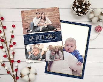 Navy Blue Christmas Card - Joy to The World Christmas Card - Printable Holiday Card - Navy Blue and Gold Glitter - Double Sided - Digital