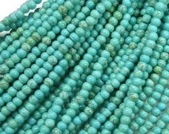 Turquoise  Beads , 3mm  Gemstone  Beads ,  Full Strand , Genuine Turquoise