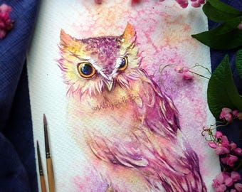 Sweet owl - ORIGINAL watercolor painting 7.5x11 inches