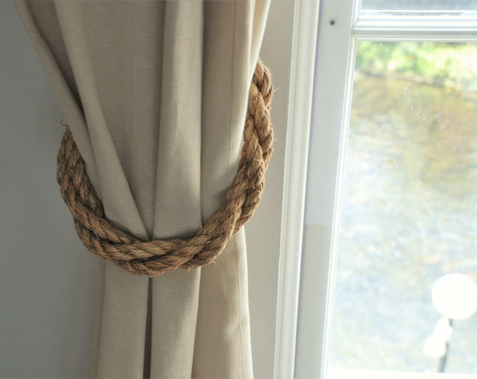 Manila Rope Rustic Thick Twist Curtain Tiebacks Nautical Window Treatment / Chunky Rustic Ties/ Rope Tie backs/ Chunky Rope Hold Backs
