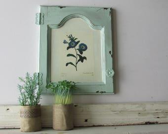cabinet front- Vintage Aqua A -farmhouse style - architectural salvage - vintage wood trim - chippy paint