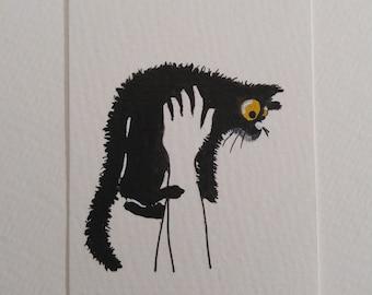 ORIGINAL #18 art painting black cat cuddles cute miniature funny whimsical ACEO pet animals