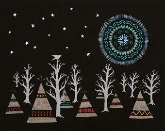 Many Moons and Many Winters - 11 x 14 inch Cut Paper Art Print