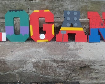 Custom Block Letter Name Sign - Custom Boys Block Letter Super Hero Name Sign - Custom Hanging Block Letters