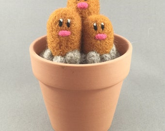 "Dugtrio. Needle Felted. 100% handmade Pokemon character. Measures: 2.75"" wide at base x 2.75"" high."