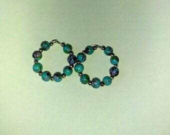 Blue Multi Hoops 6mm Bead Hoop Earrings