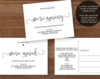 Printable house move postcard, we moved template, easy to edit, print and send, optional heart motif | DIY Instant download