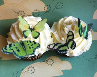 EDIBLE Butterflies The Original - Small Greens - Cake & Cupcake toppers - PRECUT and Ready to Use