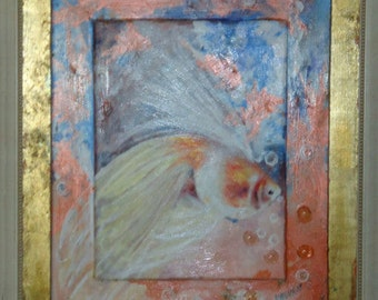 Mixed Media Fish Painting of a Goldfish in gold foiled frame