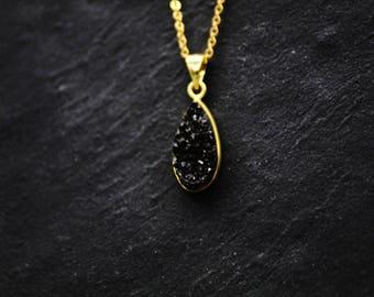 Black quartz druzy gold plated necklace / quartz druzy teardrop necklace