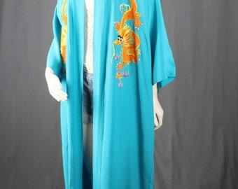 Kimono Jacket Duster Coat Caftan Blue dragon embroidery Bohemian Gypsy size OSFA S M L