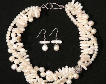 Artisan Created 3-Strand White Natural Cultured Freshwater Pearl Necklace and Earring Set with Sterling Silver