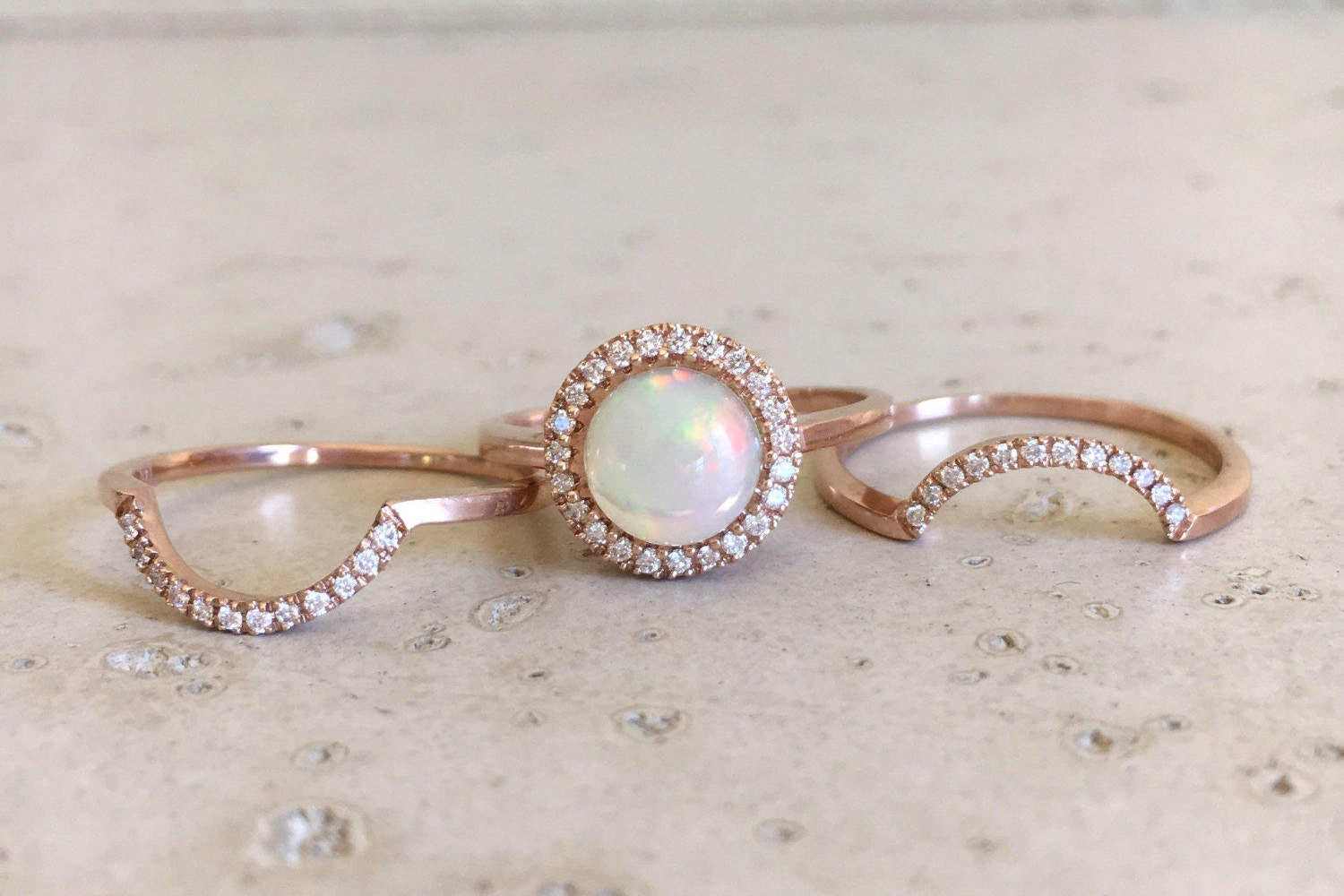 flashopal rings colorful opal natural bright gold diamonds gem ring engagement diamond color