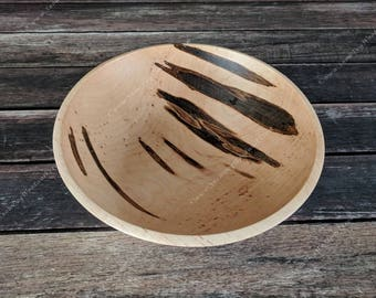 """234 - Large Ambrosia Maple Wood Bowl -  10 1/4"""" inch.  Harvested in Southern New Hampshire, Hand Turned, Food Safe Wooden Bowl, Home Decor"""