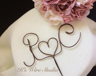 A Custom Wedding Cake Topper, Large Initials Wedding Cake Topper, Monogram Cake Topper,  Wire Heart Cake Decorations, Wire Decoration