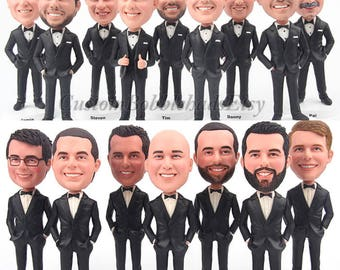 Custom Bobblehead groomsmen wear black suit - Groomsmen bobblehead for best man , Personalized bobblehead business gifts