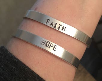 FAITH - Hand stamped thin aluminum cuff bracelet
